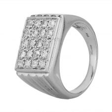 Second Hand 9ct White Gold Cubic Zirconia Rectangular Signet Ring LOT871(9/16)