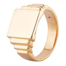 Second Hand Yellow Gold Heavy Plain Square Signet Ring N462820(417)