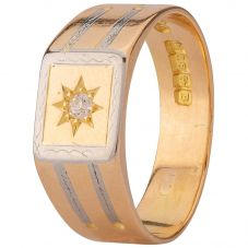 Second Hand 18ct Two Colour Gold Mens Diamond Signet Ring 4115484