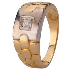 Second Hand 9ct Two Colour Gold Mens Diamond Ring 4115503
