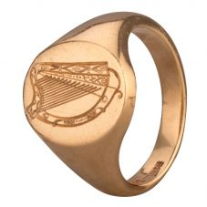 Second Hand 9ct Yellow Gold Mens Harp Signet Ring 4115519