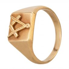 Second Hand 9ct Yellow Gold Masonic Square Signet Ring HGM5/3/4(7/18)