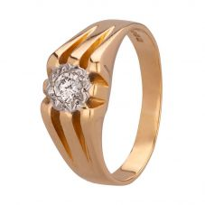 Second Hand 18ct Yellow Gold Mens 0.20ct Diamond Set Signet Ring 4115616