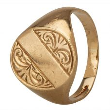 Second Hand 9ct Yellow Gold Mens Engraved Signet Ring 4115630