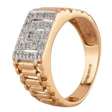 Second Hand 9ct Yellow Gold Diamond Greek Key Patterned Ring HGM16/03/24