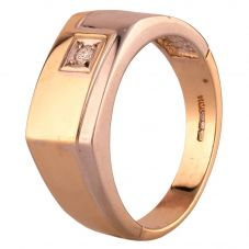 Second Hand 9ct Two Colour Gold Diamond Oblong Signet Ring HGM22/02/02(02/19)
