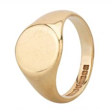 Second Hand 9ct Yellow Gold Oval Plain Signet Ring HGM 24/03/26(03/19)