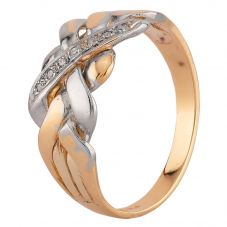 Second Hand 9ct Two Colour Gold Diamond Four Piece Puzzle Ring 24/03/456(03/19)
