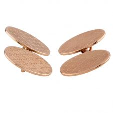 Second Hand 9ct Rose Gold Patterened Oval Chain Cufflinks D511708(433)