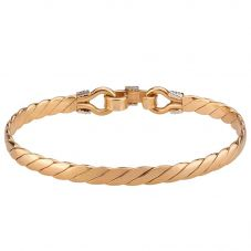 Second Hand 9ct Two Colour Gold Plaited Bangle 4121010