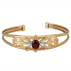 Second Hand 9ct Yellow Gold Garnet and Diamond Torque Bangle E491082(440)