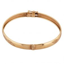 Second Hand 9ct Yellow Gold Engraved Bangle R.458354(399)
