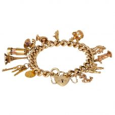 Second Hand 9ct Yellow Gold Curb Style Charm Bracelet and Charms 4123795