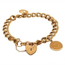 Second Hand 9ct Yellow Gold Double Curb Chain Padlock Charm Bracelet G420351(372)