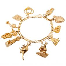 Second Hand 9ct Yellow Gold Traditional Charm Bracelet 4123804