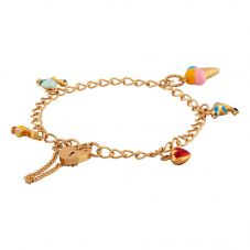 Second Hand 9ct Yellow Gold Curb Chain Padlock Enamel Charm Bracelet D.392344(377)
