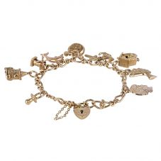 Second Hand 9ct Yellow Gold Charms and Figaro Bracelet 4123830
