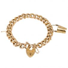 Second Hand 9ct Yellow Gold Charms and Curb Chain Bracelet 4123838