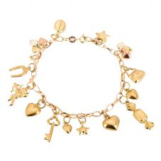 Second Hand 9ct Yellow Gold Traditional Charm Bracelet 4123841