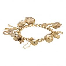 Second Hand 9ct Yellow Gold Charms and Charm Bracelet 4123847
