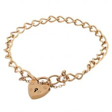 Second Hand 9ct Yellow Gold Large Heart Padlock Curb Bracelet G.458065(395)