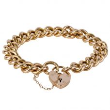 Second Hand 9ct Rose Gold Curb Chain Bracelet 4128931