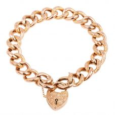 Second Hand 9ct Rose Gold Curb Link Chain Bracelet 4128946