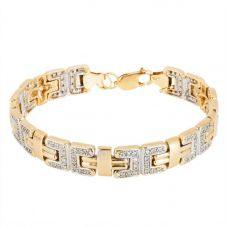 Second Hand 9ct Two Colour Gold Cubic Zirconia Set Link Bracelet 4128992