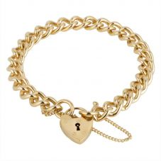 Second Hand 9ct Yellow Gold Curb Chain Bracelet 4128996