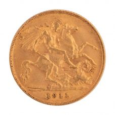 Second Hand 22ct Yellow Gold 1911 King George Half Sovereign Coin 4130124