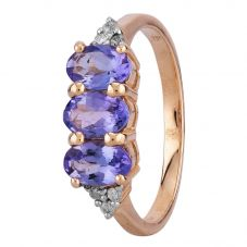 Second Hand 14ct Rose Gold Tanzanite and Diamond Trilogy Ring L511533(443)