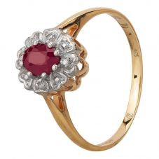 Second Hand 9ct Yellow Gold Ruby and Diamond Cluster Ring N516918(443)