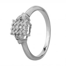 Second Hand 9ct White Gold 0.30ct Diamond Square Cluster Ring G478995(444)