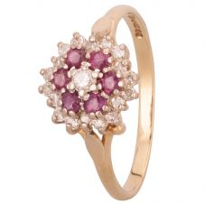 Second Hand 18ct Yellow Gold Ruby and 0.20ct Diamond Flower Cluster Ring LOT125/2