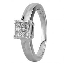 Second Hand White Gold 0.25ct Princess Cut Diamond Square Cluster Ring LOT213(12/18)