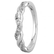 Second Hand 9ct White Gold 0.20ct Diamond Twist Ring LOT500/2