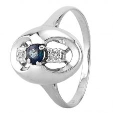 Second Hand 18ct White Gold Sapphire and Diamond Three Stone Ring R491374(441)