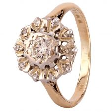 Second Hand 9ct Yellow Gold Diamond Cluster Ring D604041(440)