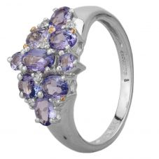 Second Hand 9ct White Gold Tanzanite and Diamond Cluster Ring HGM 21/02/11(02/19)