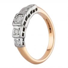 Second Hand 9ct Two Colour Gold Diamond Five Stone Ring J511147(447)