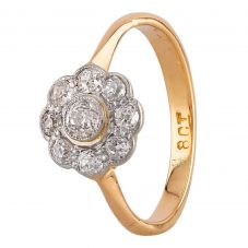 Second Hand Yellow Gold Old Cut Diamond Flower Cluster Ring N516915(443)