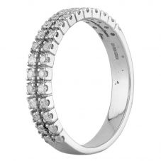 Second Hand 9ct White Gold Diamond Two Row Half Eternity Ring D516442(448)