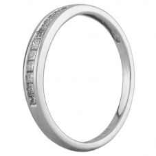 Second Hand 9ct White Gold 0.15ct Princess Cut Diamond Half Eternity Ring D516443(448)