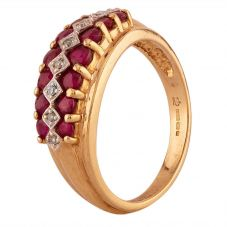Second Hand 9ct Yellow Gold Ruby and Diamond Three Row Ring J511162(450)