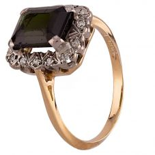 Second Hand Yellow Gold Tourmaline and Diamond Cluster Ring J511162(450)