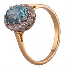 Second Hand Yellow Gold Blue Zircon and Diamond Cluster Ring N516943(445)