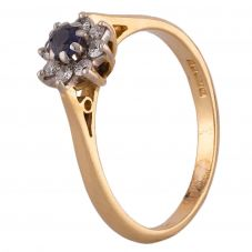 Second Hand 18ct Yellow Gold Sapphire and Diamond Cluster Ring E491095(447)