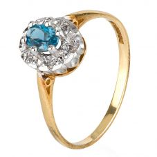 Second Hand 9ct Yellow Gold Blue Topaz and Diamond Cluster Ring 4136047