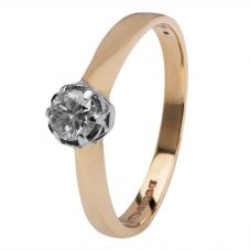 Second Hand 9ct Yellow Gold Diamond Solitaire Ring 4136183