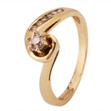 Second Hand 9ct Yellow Gold Diamond Solitaire Ring 4136325